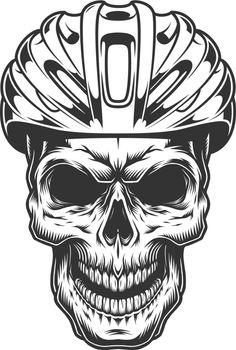Skull in the bicycle helmet
