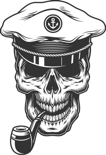 Skull with pipe in the