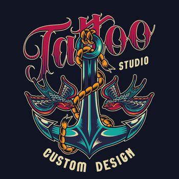 Tattoo studio colorful print