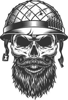 Skull in the soldier helmet