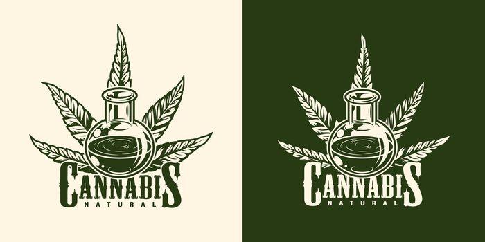 Vintage monochrome marijuana logotype