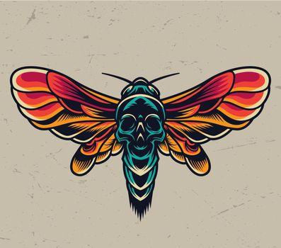 Vintage colorful flying death head moth