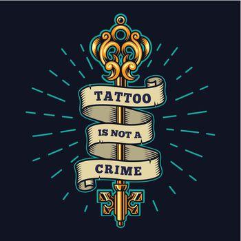 Tattoo salon colorful emblem