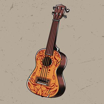 Colorful acoustic guitar concept