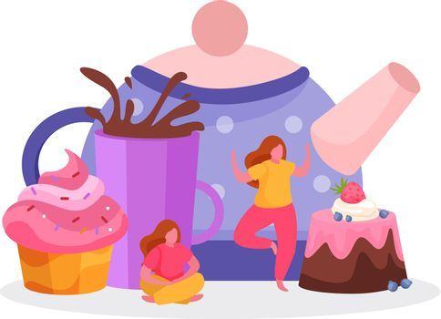 Teapot Sweets Flat Composition