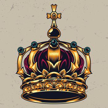 Vintage colorful ornate royal crown concept