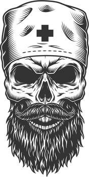 Skull in the medical hat