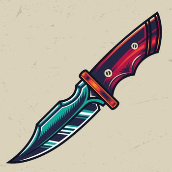 Colorful sharp military knife concept