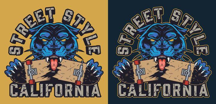 Vintage skateboarding colorful logotype