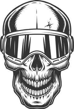 Skull in the ski glasses