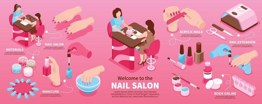 Nail Salon Isometric Infographics