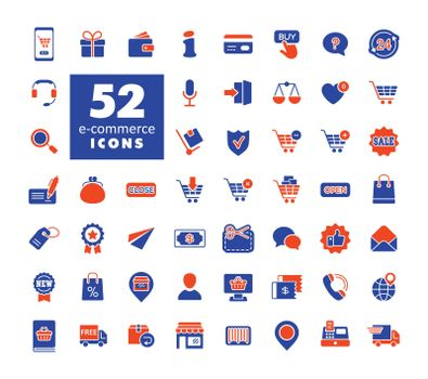 E-commerce vector glyph icons shopping and online