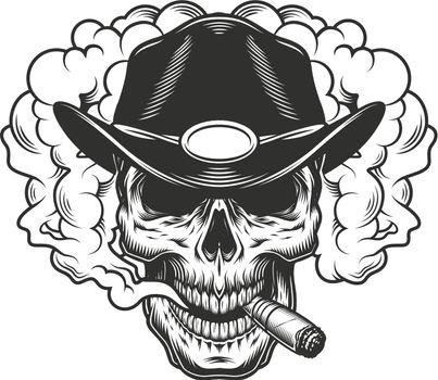 Skull in smoke cloud