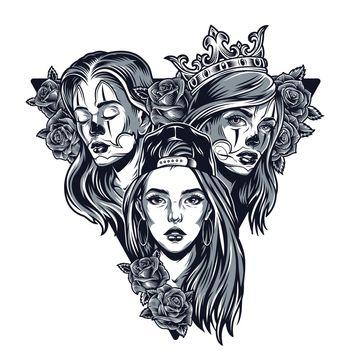 Triangular concept of pretty chicano girls