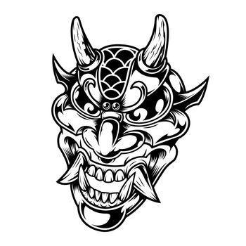 Vintage scary demon head concept