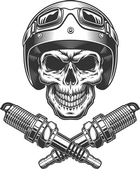 Vintage motorcycle rider skull