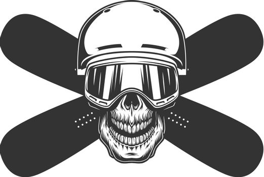 Snowboarder skull in helmet and mask