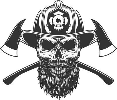Bearded and mustached fireman skull