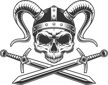 Viking skull in helmet with horns