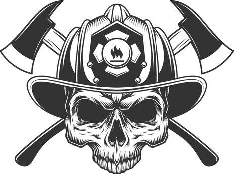 Skull without jaw in fireman helmet