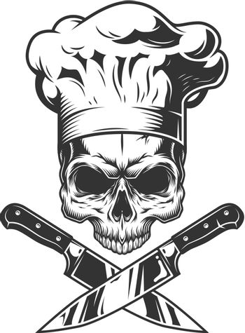 Skull without jaw in chef hat