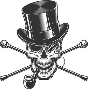 Vintage gentleman skull smoking pipe
