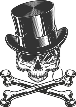 Vintage gentleman skull without jaw