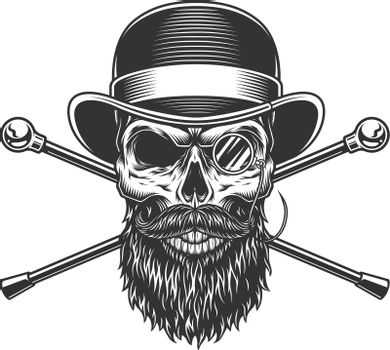Bearded and mustached gentleman skull