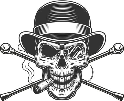Vintage gentleman skull smoking cigar