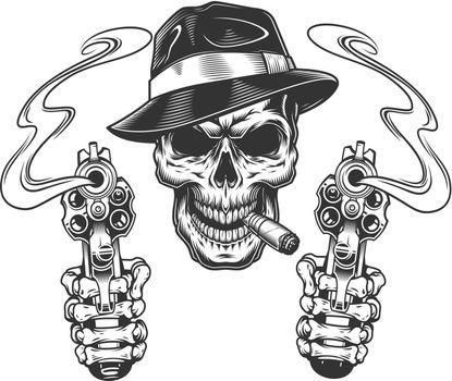 Vintage monochrome gangster skull smoking cigar