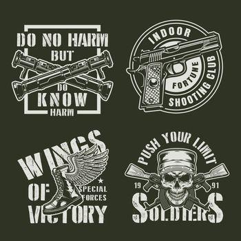 Vintage military badges set