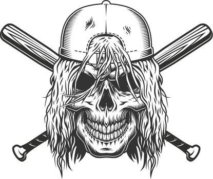 Skull in cap with long hair