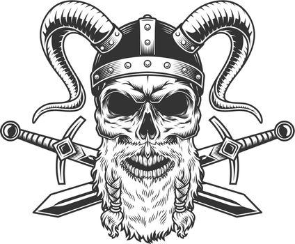 Vintage stern bearded viking skull