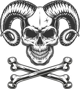 Vintage monochrome devil skull
