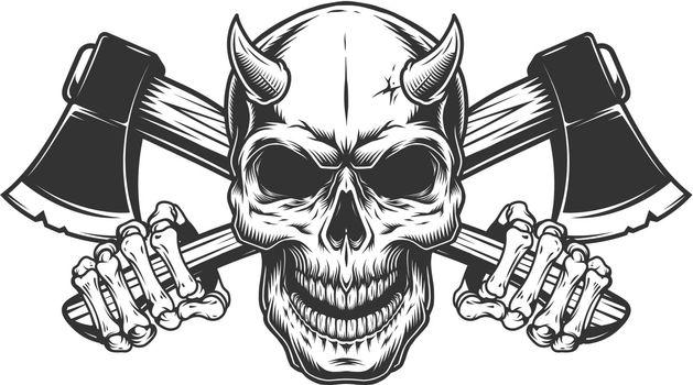 Vintage monochrome demon skull with horns