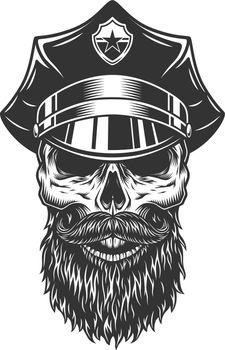 Skull in the policeman hat