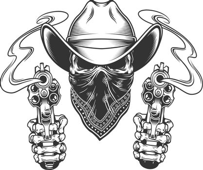 Cowboy skull with scarf on face