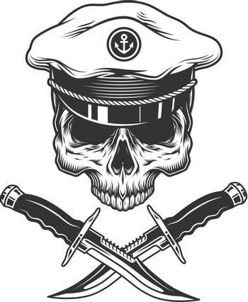 Vintage sea captain skull without jaw