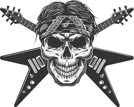 Vintage monochrome rock musician skull