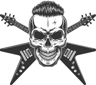 Rockstar skull with trendy hairstyle
