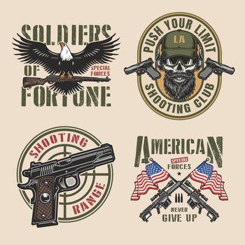 Vintage military colorful logos set