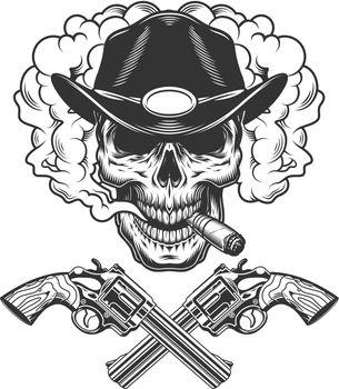 Skull smoking cigar in sheriff hat