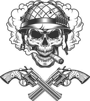 Vintage monochrome soldier skull smoking cigar