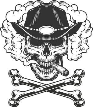 Vintage monochrome sheriff skull smoking cigar