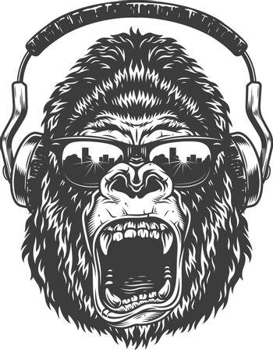 Gorilla with headphones