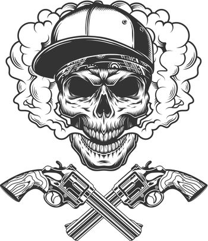 Vintage monochrome bandit skull