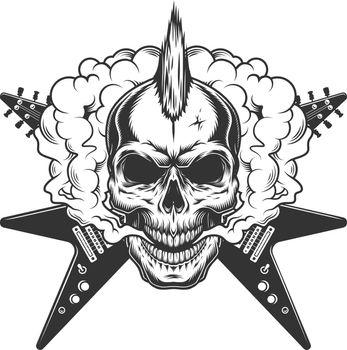Vintage rock musician skull with mohawk