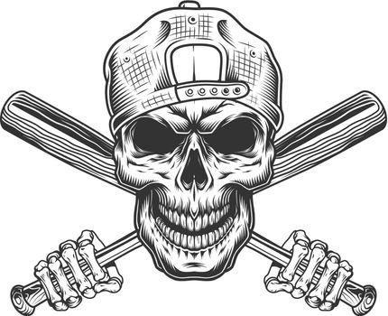 Vintage bandit skull in hipster cap