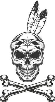 Vintage monochrome indian warrior