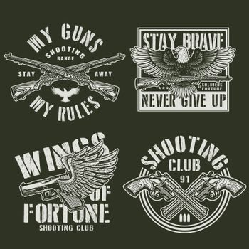 Vintage monochrome military prints